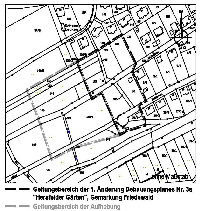 Geltungsbereich der 1. Änderung des Bebauungsplanes Nr. 3a